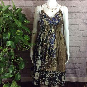 SET Brown & blue floral stretch dress & necklace